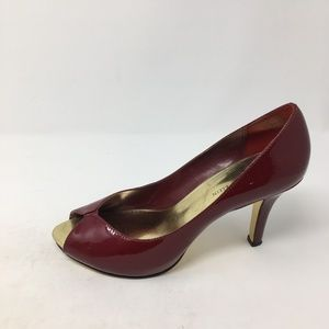 ANNE KLEIN RED PEEP TOE HEELS 9M